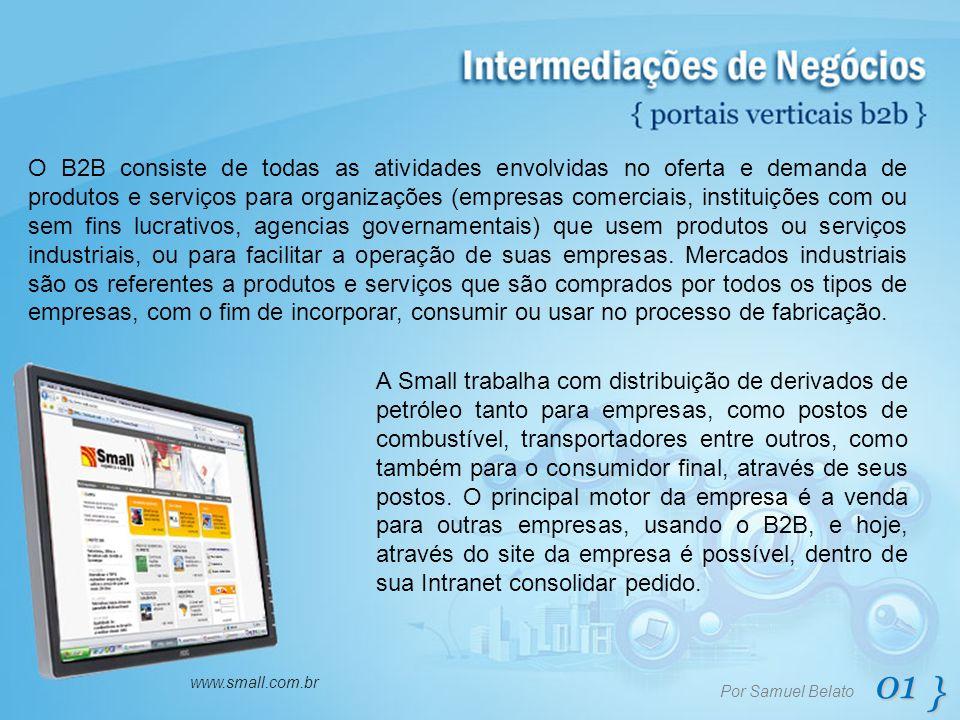 01 } Por Samuel Belato www.small.com.br O B2B consiste de todas as atividades envolvidas no oferta e demanda de produtos e serviços para organizações