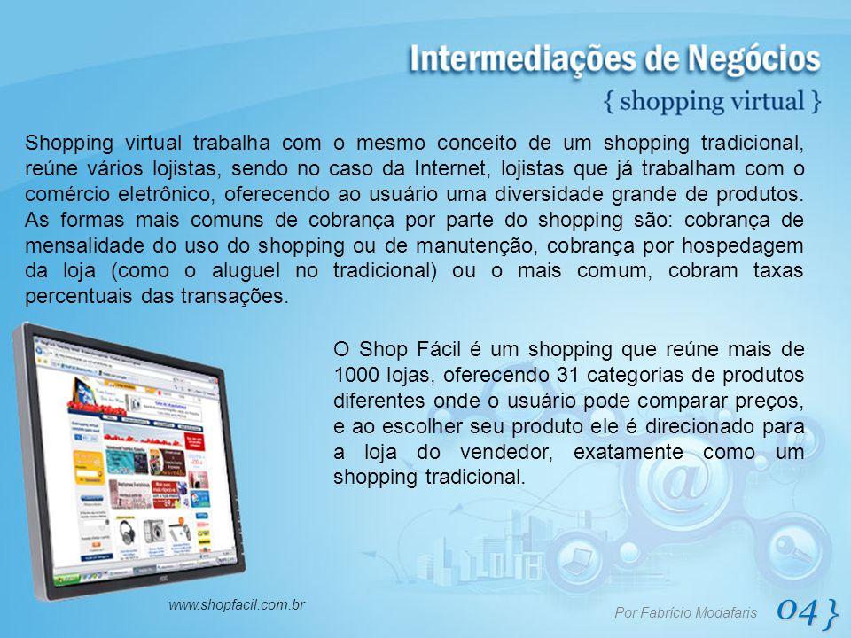 04 } Por Fabrício Modafaris www.shopfacil.com.br Shopping virtual trabalha com o mesmo conceito de um shopping tradicional, reúne vários lojistas, sen