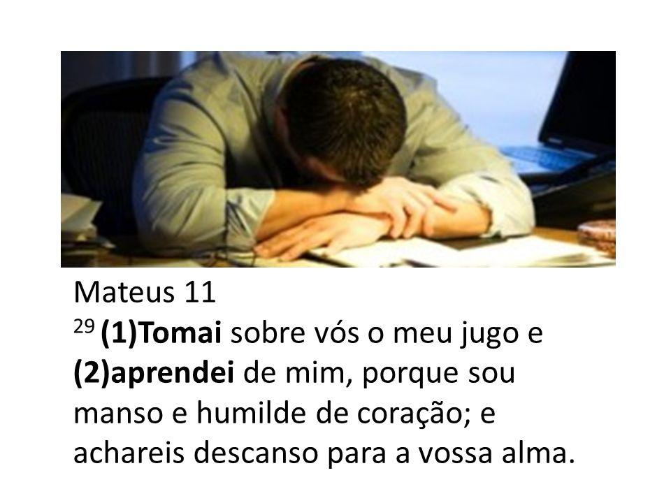 Mateus 11 29 (1)Tomai sobre vós o meu jugo e (2)aprendei de mim, porque sou manso e humilde de coração; e achareis descanso para a vossa alma.