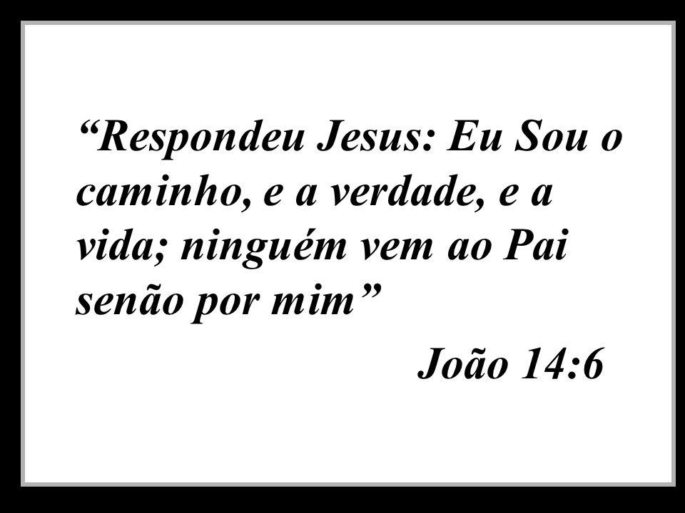 Respondeu Jesus: Eu Sou o caminho, e a verdade, e a vida; ninguém vem ao Pai senão por mim João 14:6