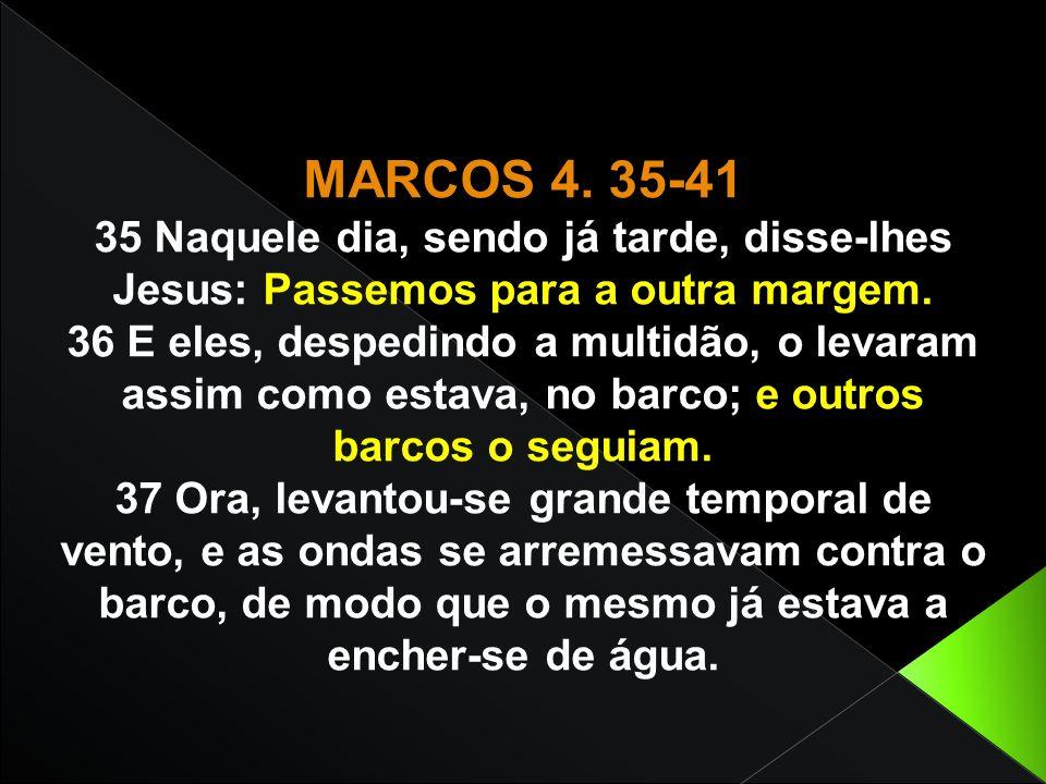 35 Naquele dia, sendo já tarde, disse-lhes Jesus: Passemos para a outra margem. 36 E eles, despedindo a multidão, o levaram assim como estava, no barc