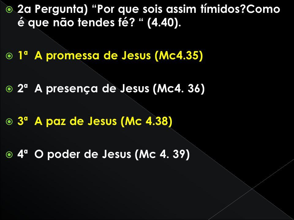 2a Pergunta) Por que sois assim tímidos?Como é que não tendes fé? (4.40). 1ª A promessa de Jesus (Mc4.35) 2ª A presença de Jesus (Mc4. 36) 3ª A paz de