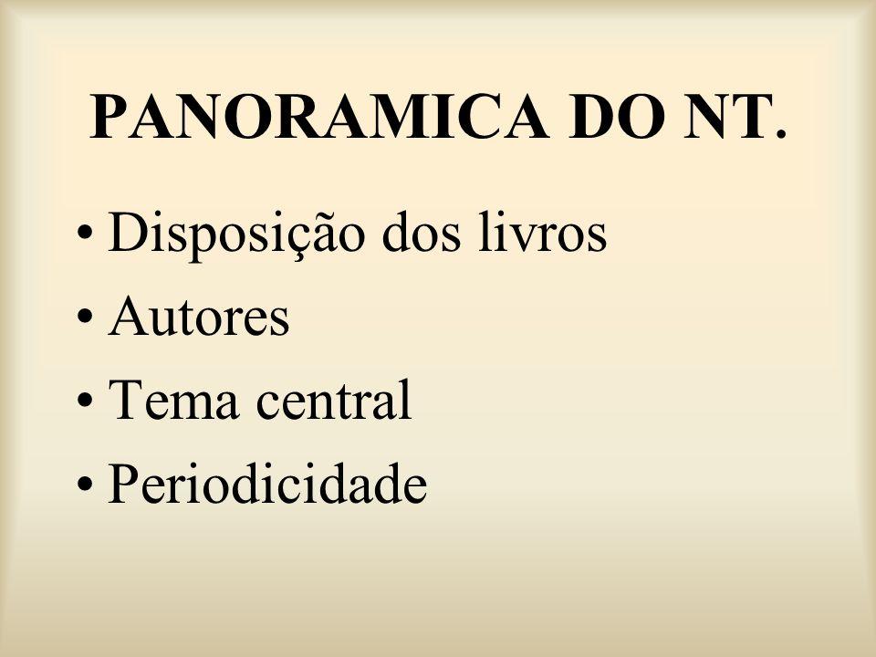 PANORAMICA DO NT. Disposição dos livros Autores Tema central Periodicidade