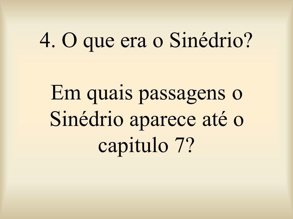 4. O que era o Sinédrio? Em quais passagens o Sinédrio aparece até o capitulo 7?