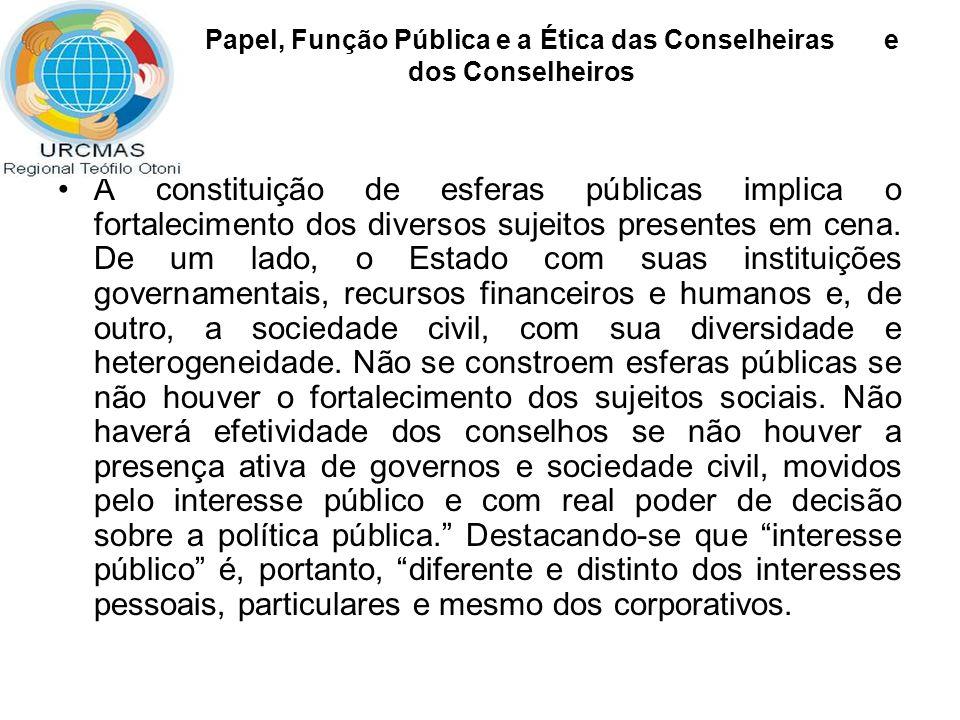 Papel, Função Pública e a Ética das Conselheiras e dos Conselheiros A constituição de esferas públicas implica o fortalecimento dos diversos sujeitos