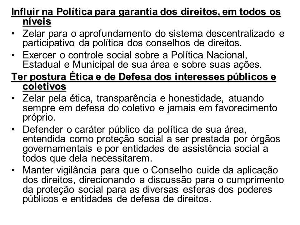 Influir na Política para garantia dos direitos, em todos os níveis Zelar para o aprofundamento do sistema descentralizado e participativo da política