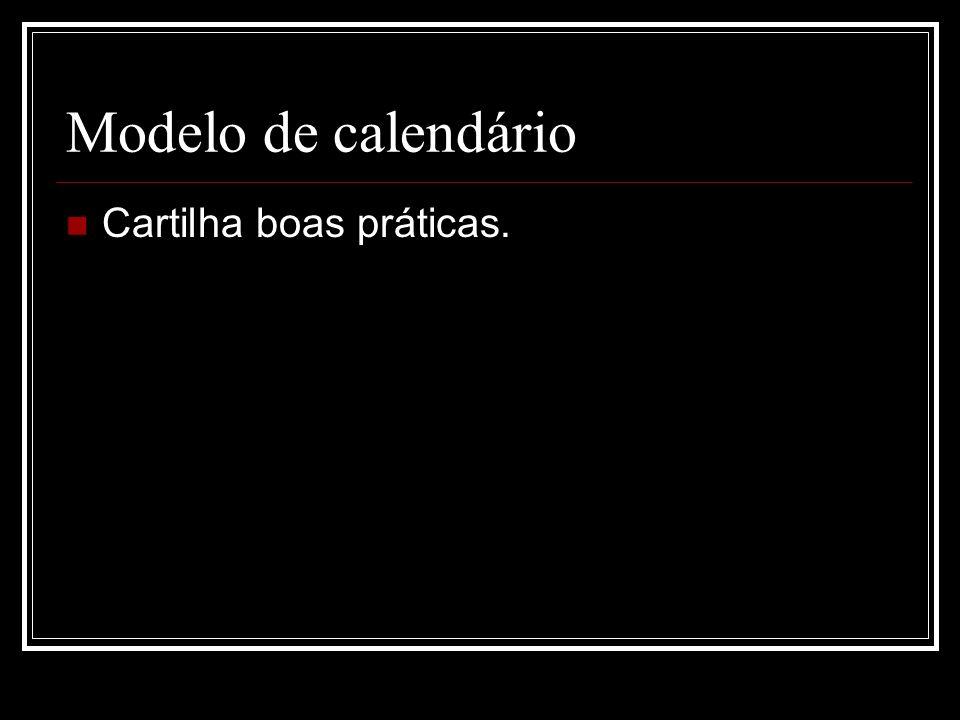 Modelo de calendário Cartilha boas práticas.
