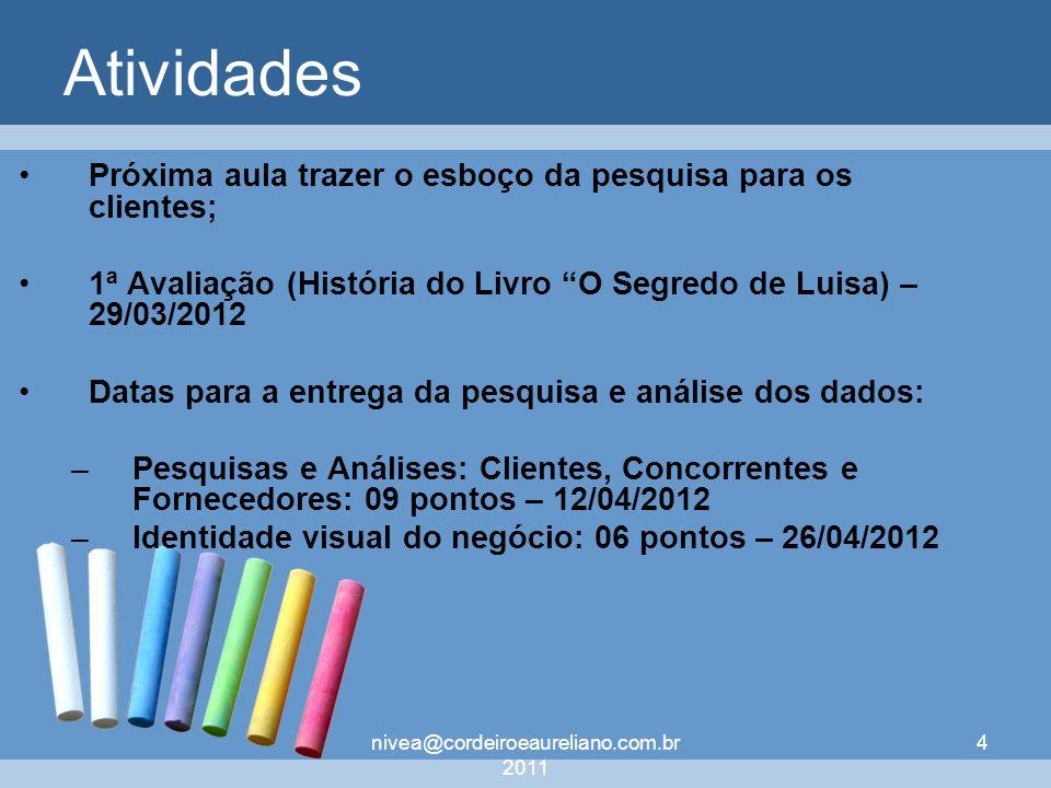 nivea@cordeiroeaureliano.com.br 2011 4 Atividades Próxima aula trazer o esboço da pesquisa para os clientes; 1ª Avaliação (História do Livro O Segredo