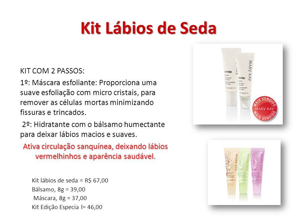 Kit Lábios de Seda KIT COM 2 PASSOS: 1º: Máscara esfoliante: Proporciona uma suave esfoliação com micro cristais, para remover as células mortas minim