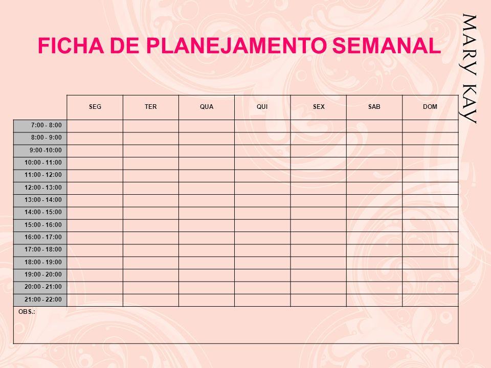 FICHA DE PLANEJAMENTO SEMANAL SEGTERQUAQUISEXSABDOM 7:00 - 8:00 8:00 - 9:00 9:00 -10:00 10:00 - 11:00 11:00 - 12:00 12:00 - 13:00 13:00 - 14:00 14:00
