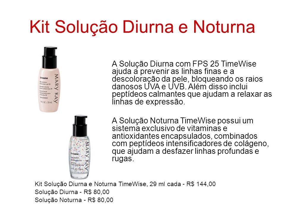 Kit Solução Diurna e Noturna A Solução Diurna com FPS 25 TimeWise ajuda a prevenir as linhas finas e a descoloração da pele, bloqueando os raios danos