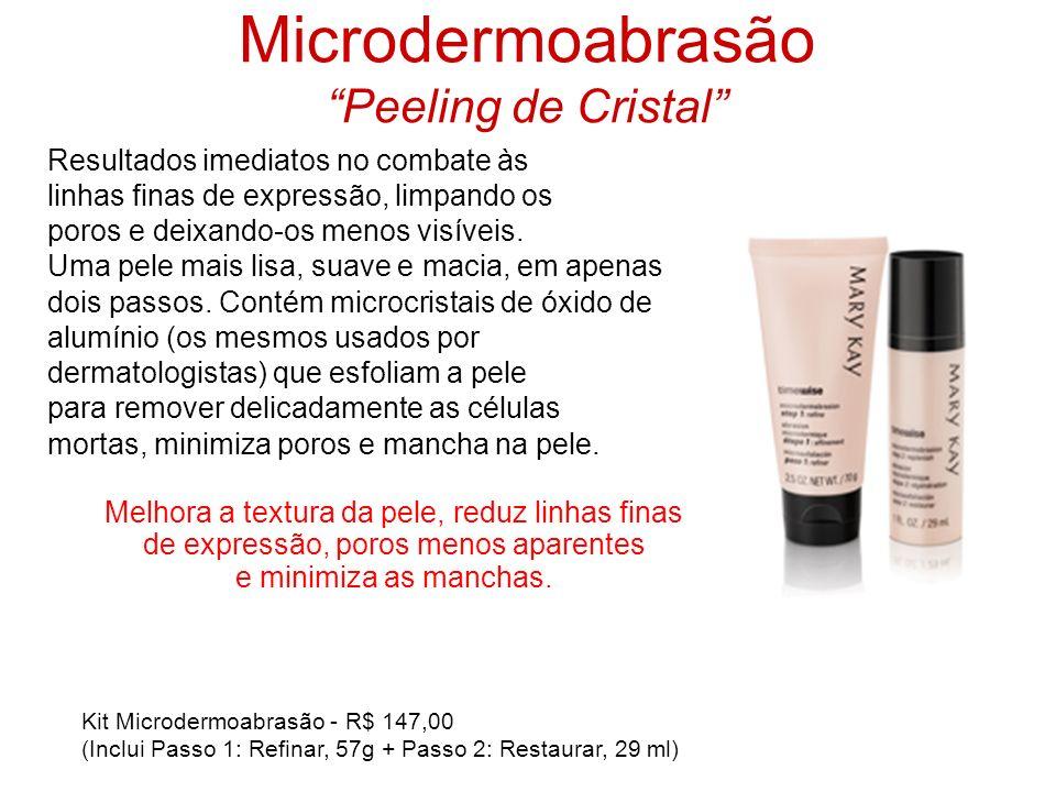 Microdermoabrasão Peeling de Cristal Resultados imediatos no combate às linhas finas de expressão, limpando os poros e deixando-os menos visíveis. Uma