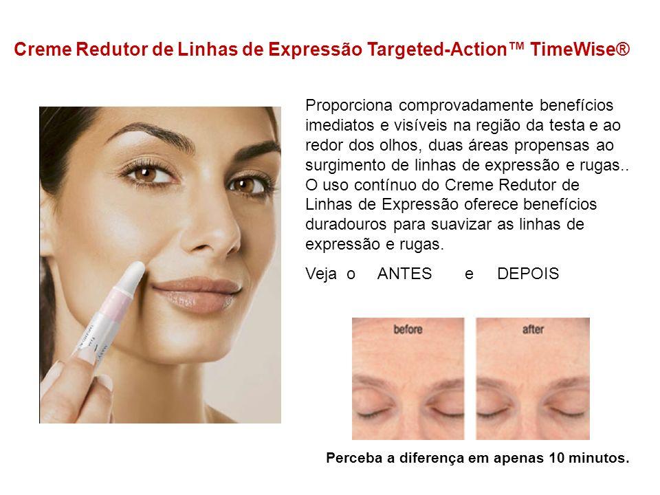 Creme Redutor de Linhas de Expressão Targeted-Action TimeWise® Proporciona comprovadamente benefícios imediatos e visíveis na região da testa e ao red