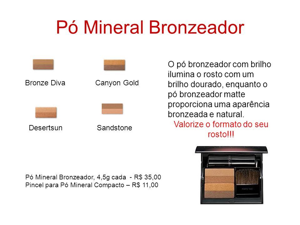 Pó Mineral Bronzeador O pó bronzeador com brilho ilumina o rosto com um brilho dourado, enquanto o pó bronzeador matte proporciona uma aparência bronz