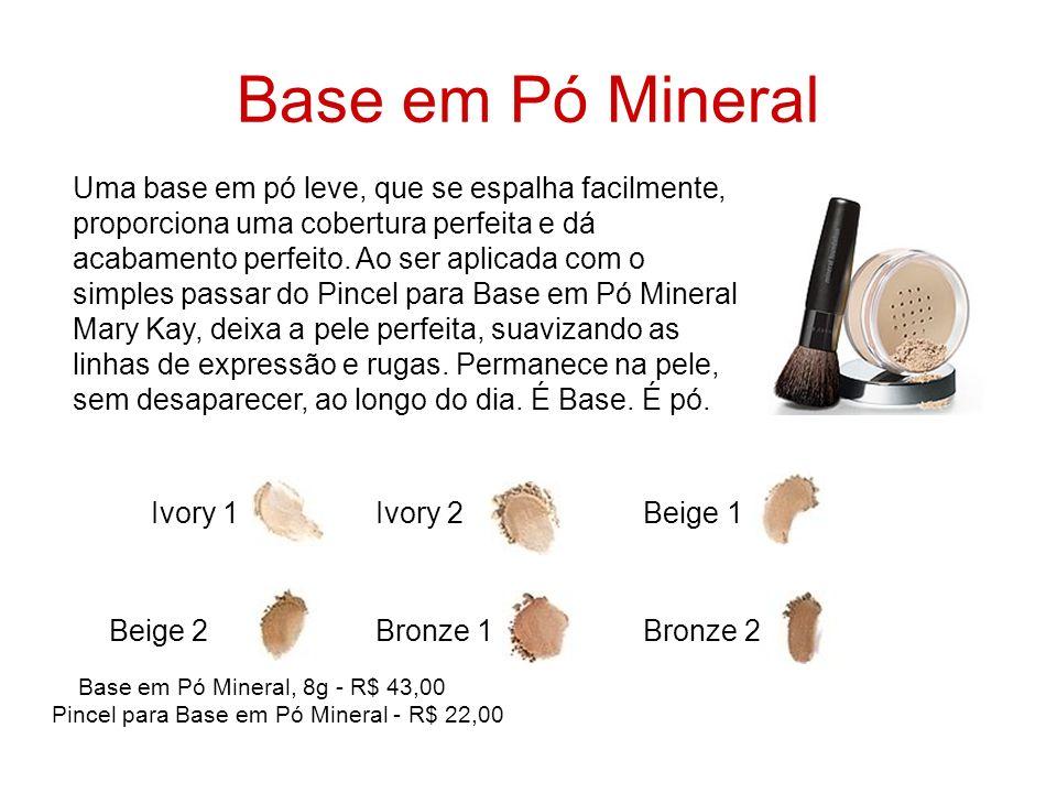 Base em Pó Mineral Uma base em pó leve, que se espalha facilmente, proporciona uma cobertura perfeita e dá acabamento perfeito. Ao ser aplicada com o