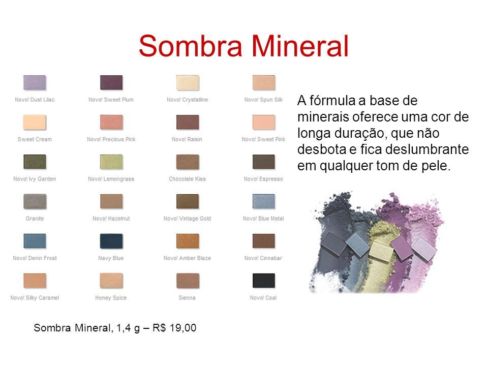 Sombra Mineral A fórmula a base de minerais oferece uma cor de longa duração, que não desbota e fica deslumbrante em qualquer tom de pele. Sombra Mine