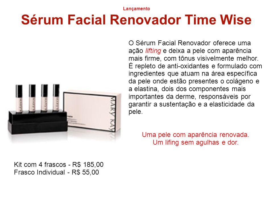 Lançamento Sérum Facial Renovador Time Wise O Sérum Facial Renovador oferece uma ação lifting e deixa a pele com aparência mais firme, com tônus visiv