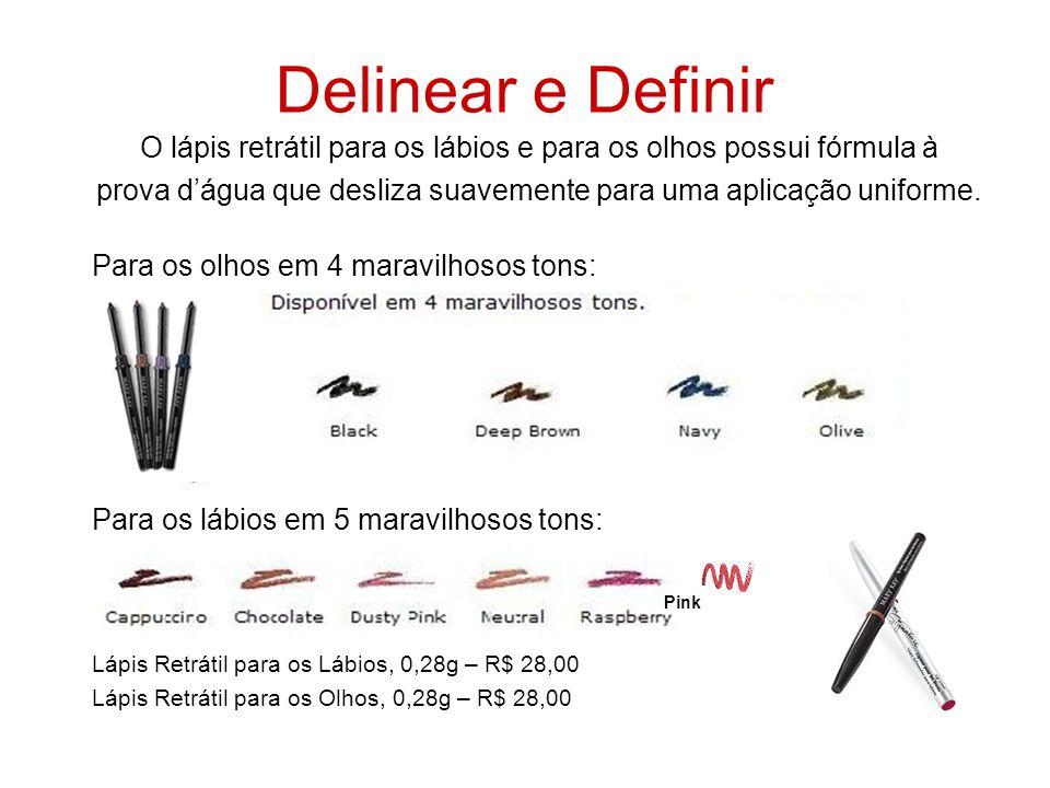 Delinear e Definir O lápis retrátil para os lábios e para os olhos possui fórmula à prova dágua que desliza suavemente para uma aplicação uniforme. Pa