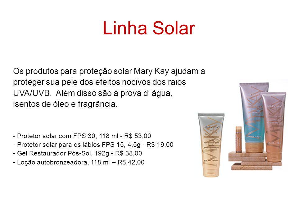 Linha Solar Os produtos para proteção solar Mary Kay ajudam a proteger sua pele dos efeitos nocivos dos raios UVA/UVB. Além disso são à prova d água,
