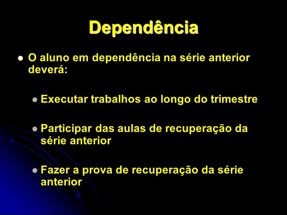 Dependência O aluno em dependência na série anterior deverá: Executar trabalhos ao longo do trimestre Participar das aulas de recuperação da série ant