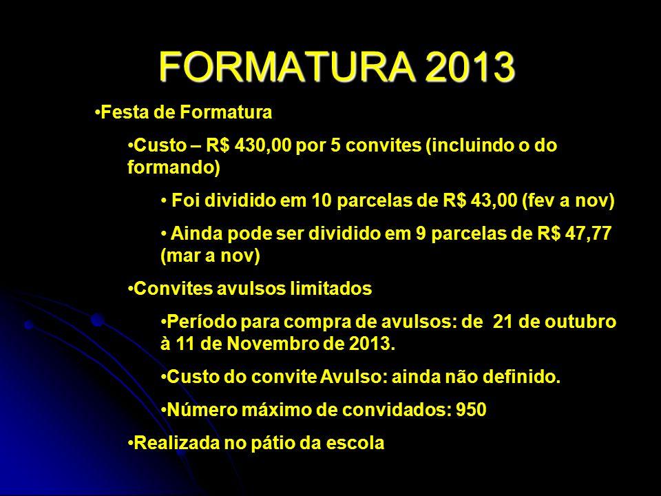 FORMATURA 2013 Festa de Formatura Custo – R$ 430,00 por 5 convites (incluindo o do formando) Foi dividido em 10 parcelas de R$ 43,00 (fev a nov) Ainda