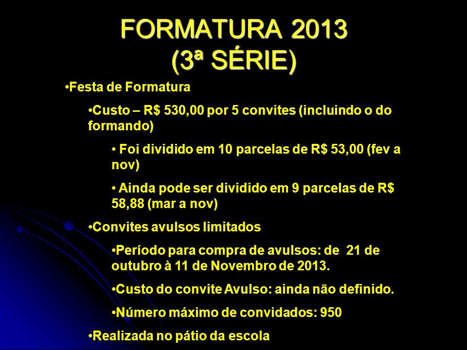 FORMATURA 2013 (3ª SÉRIE) Festa de Formatura Custo – R$ 530,00 por 5 convites (incluindo o do formando) Foi dividido em 10 parcelas de R$ 53,00 (fev a