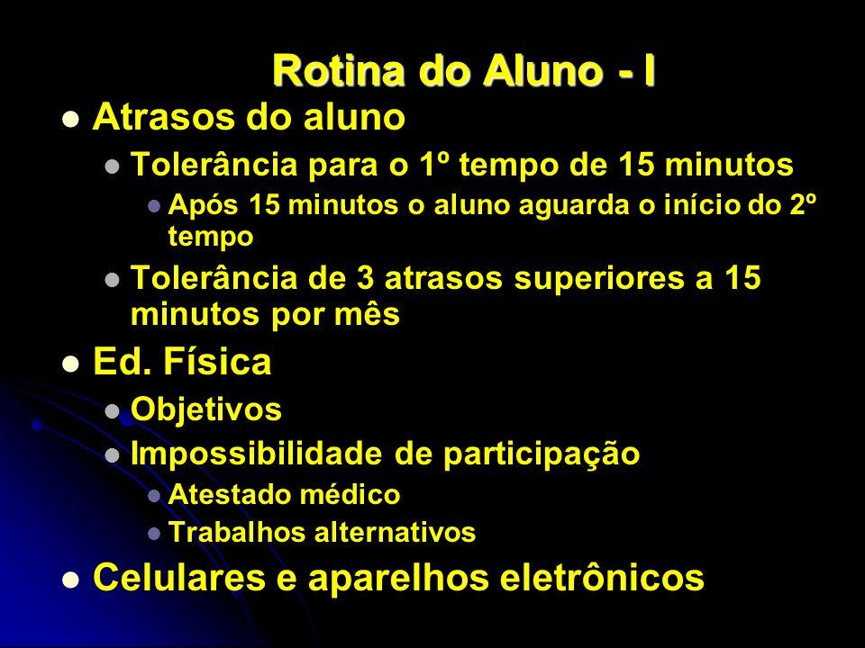 Rotina do Aluno - I Atrasos do aluno Tolerância para o 1º tempo de 15 minutos Após 15 minutos o aluno aguarda o início do 2º tempo Tolerância de 3 atr