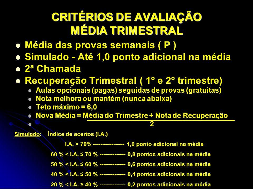CRITÉRIOS DE AVALIAÇÃO MÉDIA TRIMESTRAL Média das provas semanais ( P ) Simulado - Até 1,0 ponto adicional na média 2ª Chamada Recuperação Trimestral