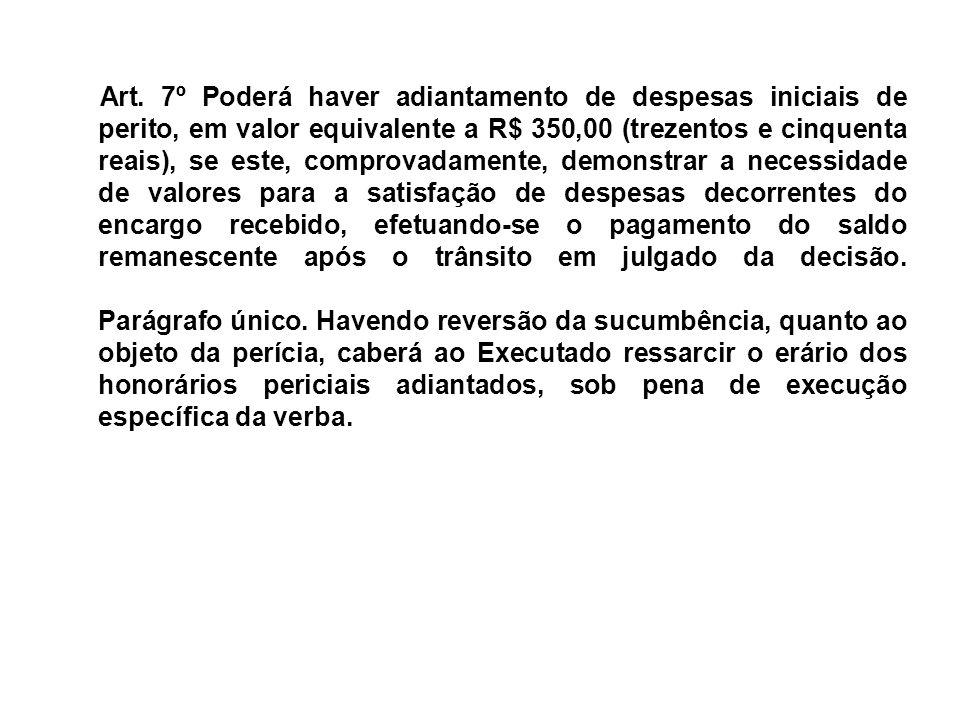 Art. 7º Poderá haver adiantamento de despesas iniciais de perito, em valor equivalente a R$ 350,00 (trezentos e cinquenta reais), se este, comprovadam