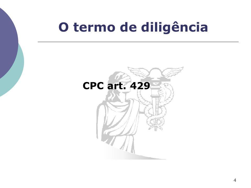O termo de diligência CPC art. 429 4