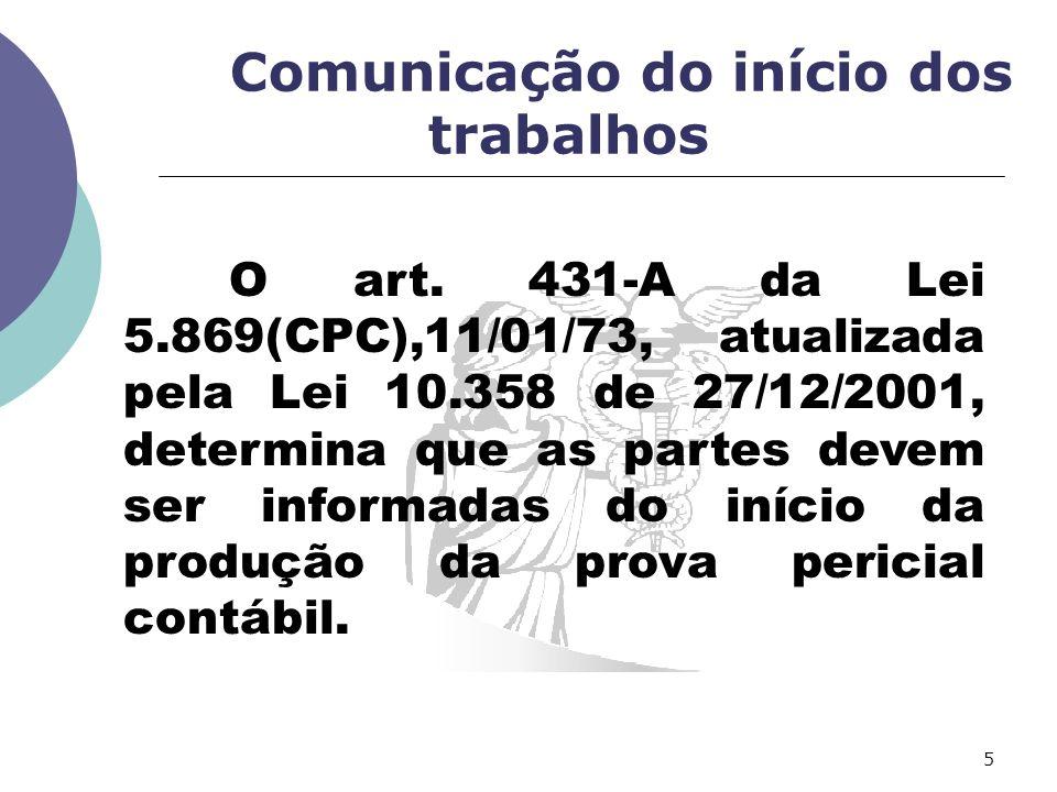 Comunicação do início dos trabalhos O art.