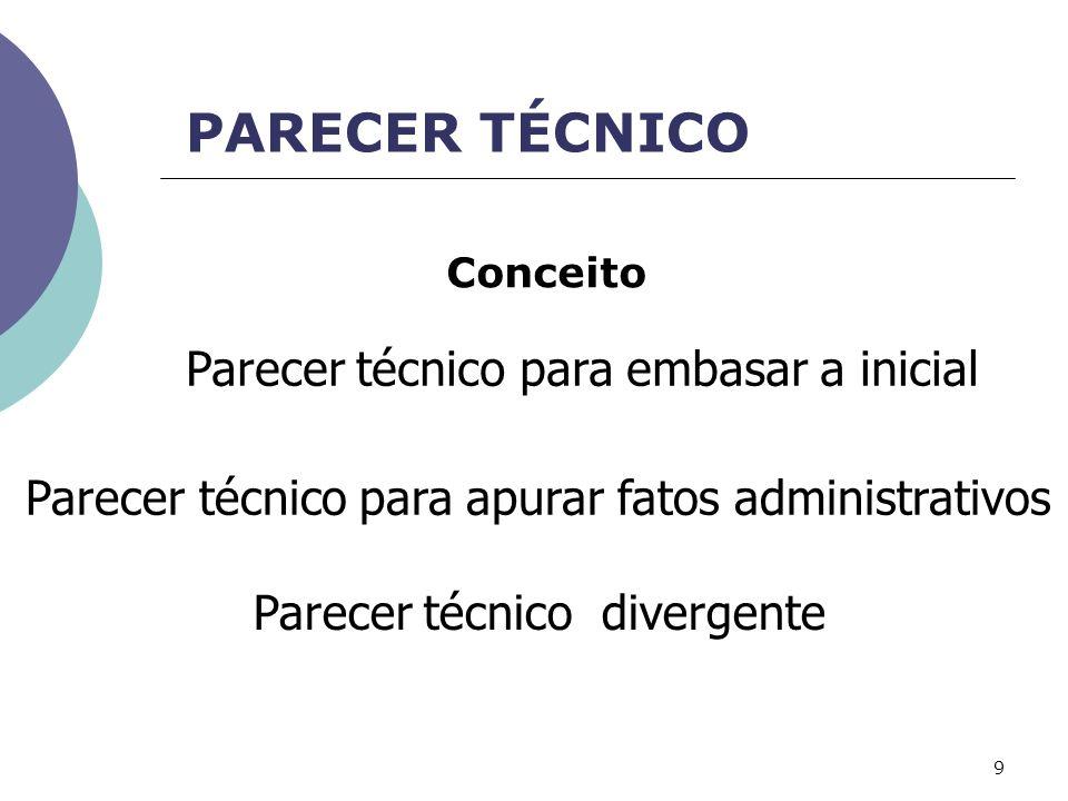 PARECER TÉCNICO Parecer técnico para embasar a inicial Parecer técnico para apurar fatos administrativos Parecer técnico divergente Conceito 9
