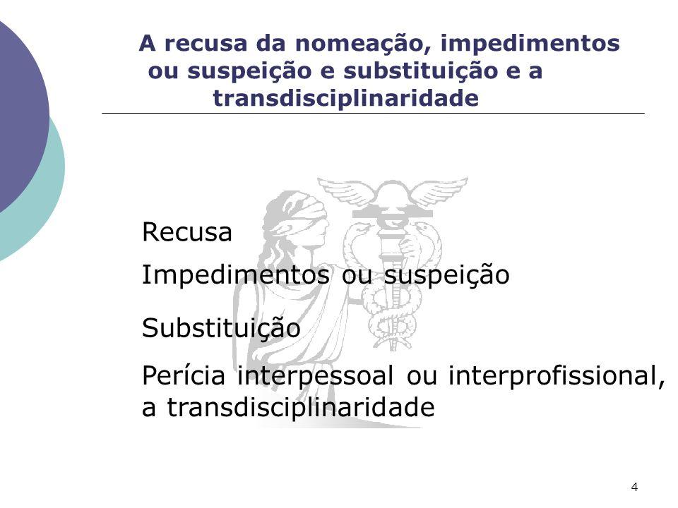 A recusa da nomeação, impedimentos ou suspeição e substituição e a transdisciplinaridade Recusa Impedimentos ou suspeição Substituição Perícia interpessoal ou interprofissional, a transdisciplinaridade 4