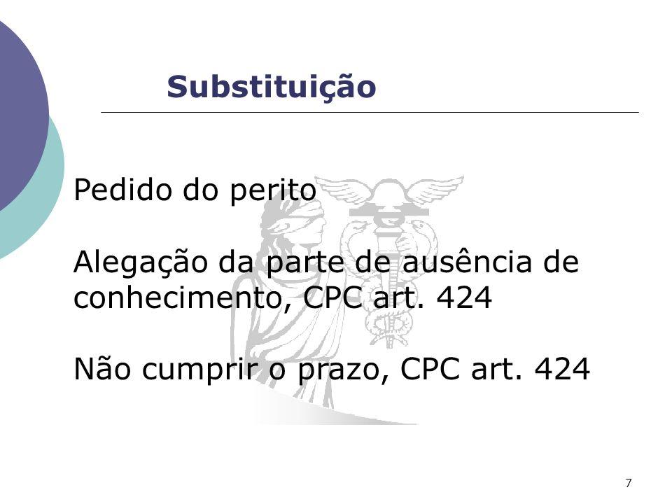 Substituição Pedido do perito Alegação da parte de ausência de conhecimento, CPC art.