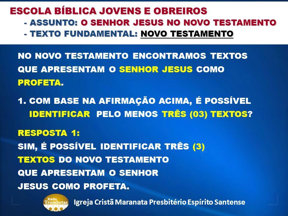 ESCOLA BÍBLICA JOVENS E OBREIROS - ASSUNTO: O SENHOR JESUS NO NOVO TESTAMENTO - TEXTO FUNDAMENTAL: NOVO TESTAMENTO NO NOVO TESTAMENTO ENCONTRAMOS TEXT