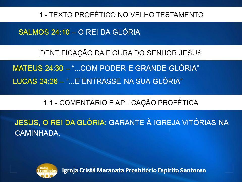 SALMOS 24:10 – O REI DA GLÓRIA 1 - TEXTO PROFÉTICO NO VELHO TESTAMENTO IDENTIFICAÇÃO DA FIGURA DO SENHOR JESUS MATEUS 24:30 –...COM PODER E GRANDE GLÓ