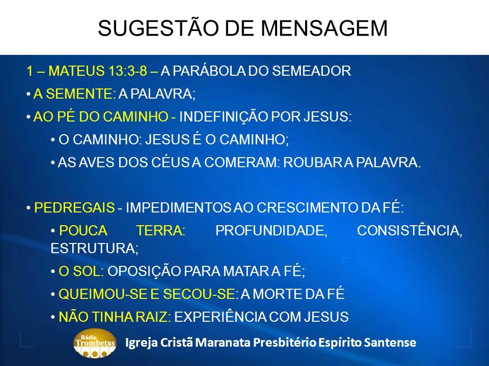 1 – MATEUS 13:3-8 – A PARÁBOLA DO SEMEADOR A SEMENTE: A PALAVRA; AO PÉ DO CAMINHO - INDEFINIÇÃO POR JESUS: O CAMINHO: JESUS É O CAMINHO; AS AVES DOS C