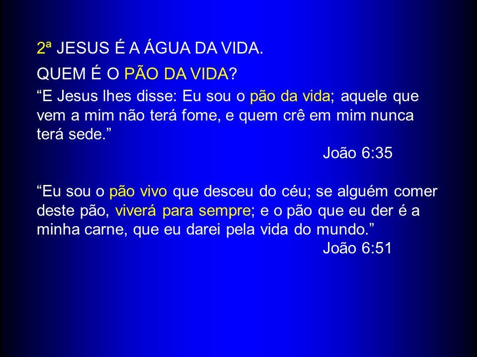 2ª JESUS É A ÁGUA DA VIDA. QUEM É O PÃO DA VIDA? E Jesus lhes disse: Eu sou o pão da vida; aquele que vem a mim não terá fome, e quem crê em mim nunca