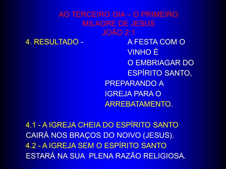 AO TERCEIRO DIA – O PRIMEIRO MILAGRE DE JESUS JOÃO 2:1 4. RESULTADO - A FESTA COM O VINHO É O EMBRIAGAR DO ESPÍRITO SANTO, PREPARANDO A IGREJA PARA O