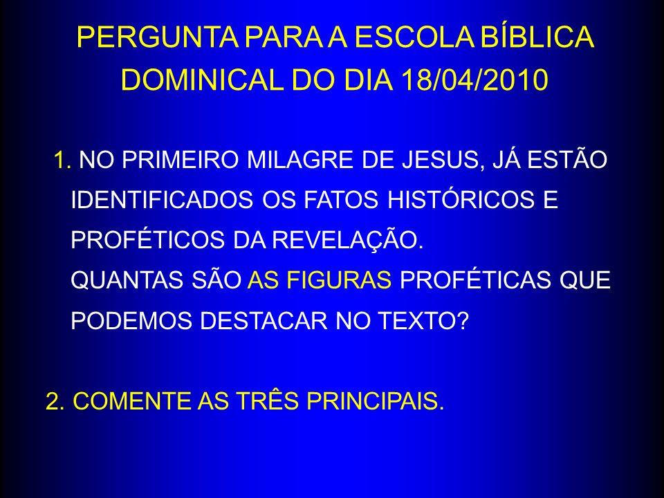1. NO PRIMEIRO MILAGRE DE JESUS, JÁ ESTÃO IDENTIFICADOS OS FATOS HISTÓRICOS E PROFÉTICOS DA REVELAÇÃO. QUANTAS SÃO AS FIGURAS PROFÉTICAS QUE PODEMOS D