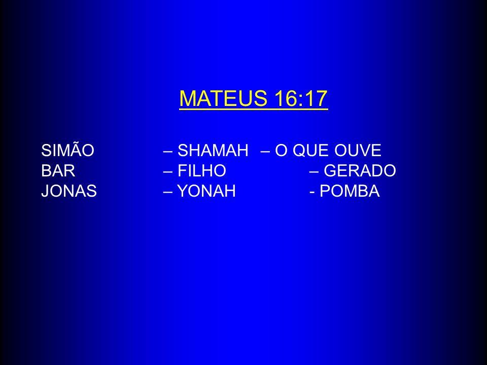 MATEUS 16:17 SIMÃO – SHAMAH – O QUE OUVE BAR – FILHO – GERADO JONAS – YONAH - POMBA