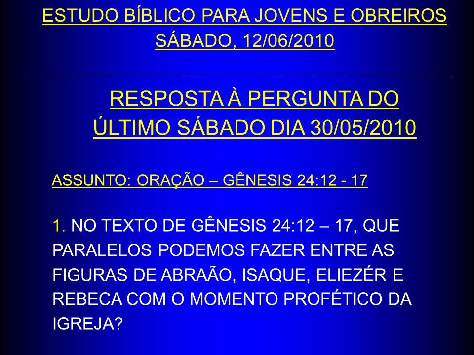 RESPOSTA À PERGUNTA DO ÚLTIMO SÁBADO DIA 30/05/2010 ASSUNTO: ORAÇÃO – GÊNESIS 24:12 - 17 1. NO TEXTO DE GÊNESIS 24:12 – 17, QUE PARALELOS PODEMOS FAZE