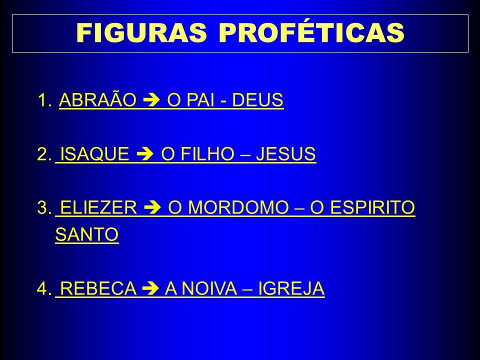 FIGURAS PROFÉTICAS 1. ABRAÃO O PAI - DEUS 2. ISAQUE O FILHO – JESUS 3. ELIEZER O MORDOMO – O ESPIRITO SANTO 4. REBECA A NOIVA – IGREJA