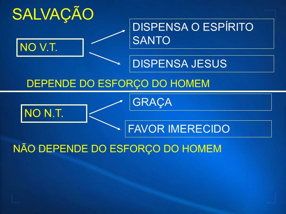 SALVAÇÃO NO V.T. NO N.T. DISPENSA O ESPÍRITO SANTO DISPENSA JESUS DEPENDE DO ESFORÇO DO HOMEM GRAÇA FAVOR IMERECIDO NÃO DEPENDE DO ESFORÇO DO HOMEM