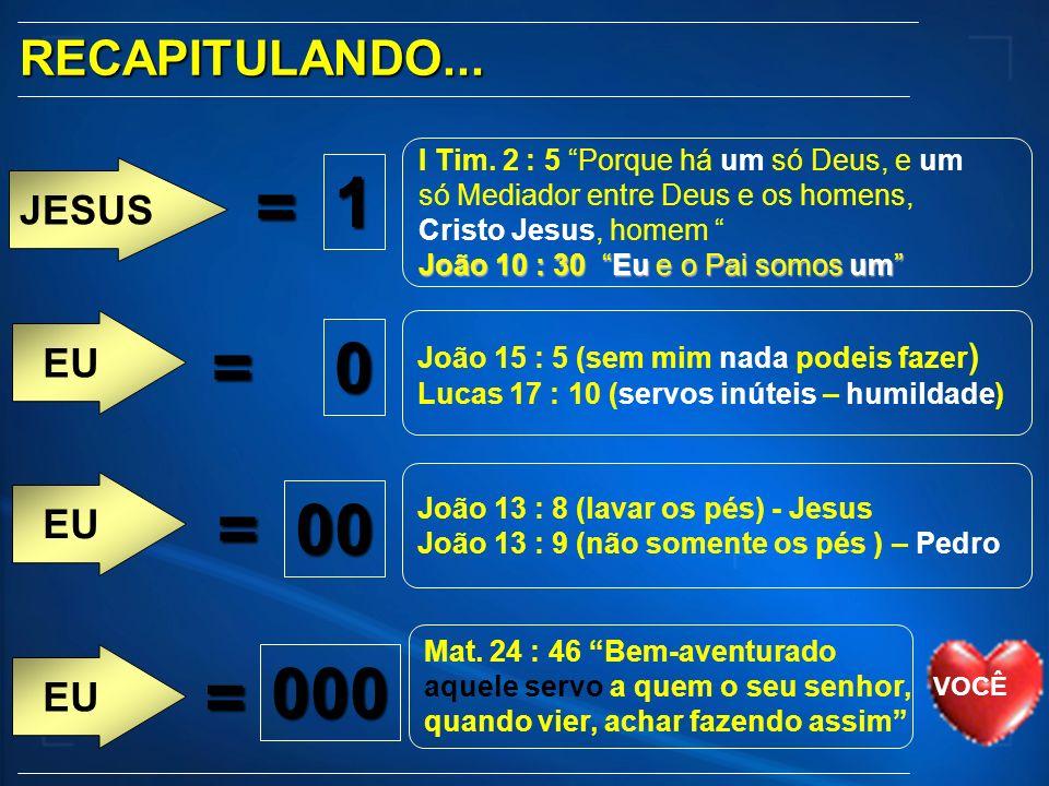 JESUS RECAPITULANDO... EU = 1 = 000 Mat. 24 : 46 Bem-aventurado aquele servo a quem o seu senhor, quando vier, achar fazendo assim I Tim. 2 : 5 Porque