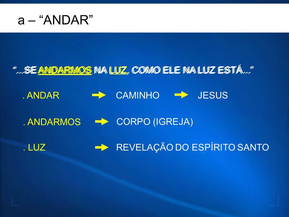 ...SE ANDARMOS NA LUZ, COMO ELE NA LUZ ESTÁ.... ANDARCAMINHO. ANDARMOS CORPO (IGREJA) JESUS. LUZREVELAÇÃO DO ESPÍRITO SANTO a – ANDAR...SE ANDARMOS NA