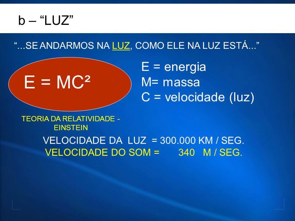 TEORIA DA RELATIVIDADE - EINSTEIN E = MC² E = energia M= massa C = velocidade (luz) b – LUZ...SE ANDARMOS NA LUZ, COMO ELE NA LUZ ESTÁ... VELOCIDADE D