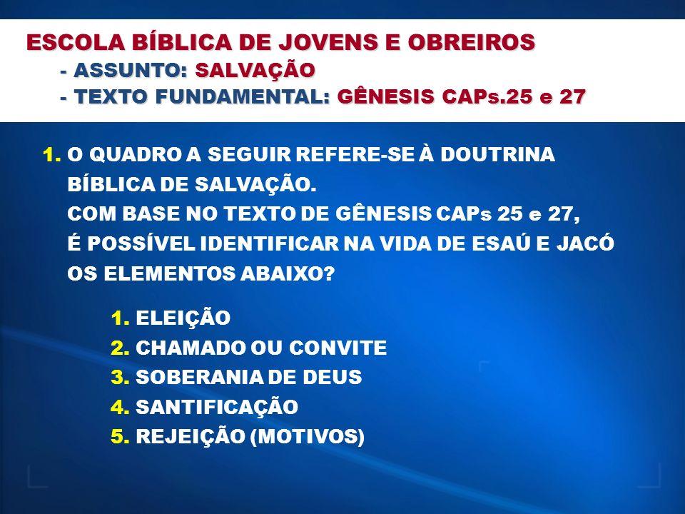 ESCOLA BÍBLICA DE JOVENS E OBREIROS - ASSUNTO: SALVAÇÃO - TEXTO FUNDAMENTAL: GÊNESIS CAPs.25 e 27 1.