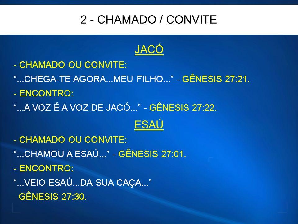 2 - CHAMADO / CONVITE JACÓ - CHAMADO OU CONVITE:...CHEGA-TE AGORA...MEU FILHO...