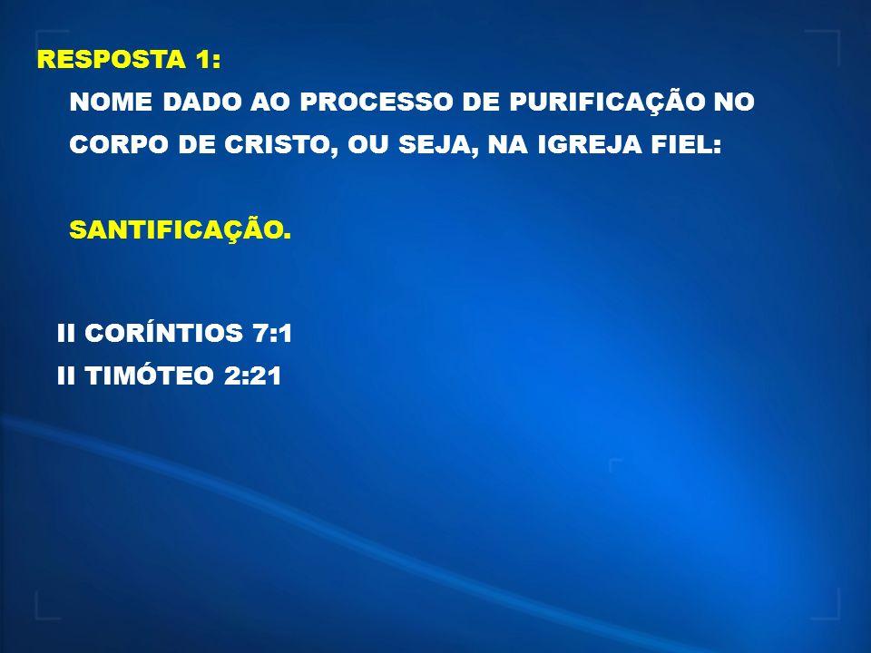 RESPOSTA 1: NOME DADO AO PROCESSO DE PURIFICAÇÃO NO CORPO DE CRISTO, OU SEJA, NA IGREJA FIEL: SANTIFICAÇÃO. II CORÍNTIOS 7:1 II TIMÓTEO 2:21